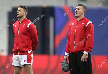 France vs Wales. Wales' Dan Biggar and Jonathan Davies