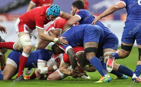 France vs Wales. Wales' George North and Virimi Vakatawa of France
