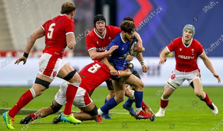 France vs Wales. France's Romain Ntamack is tackled by Adam Beard and Taulupe Faletau of Wales