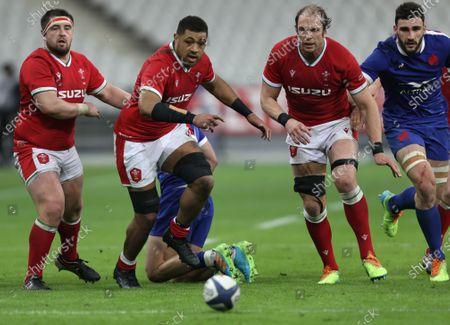 France vs Wales. Wales' Wyn Jones, Taulupe Faletau and Alun Wyn Jones