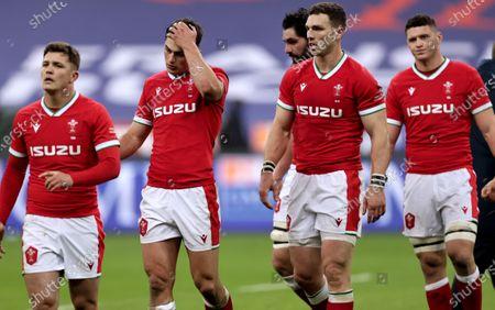 France vs Wales. Wales' Callum Sheedy, Louis Rees-Zammit, George North and James Botham