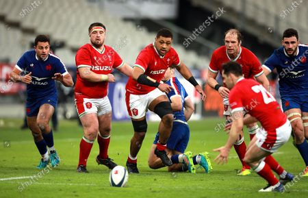 Taulupe Faletau (C) of Wales in action during the Six Nations rugby match between France and Wales at the Stade de France in Saint-Denis, outside Paris, France, 20 March 2021.