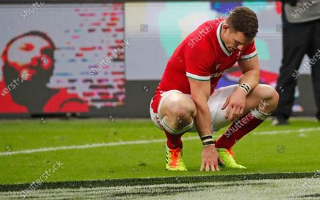 Wales' George North reacts at the end of the Six Nations rugby union international between France and Wales at the Stade de France in Saint-Denis, near Paris, . France won the match 32-30