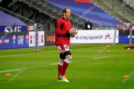 France vs Wales. Wales' Alun Wyn Jones during the warm-up