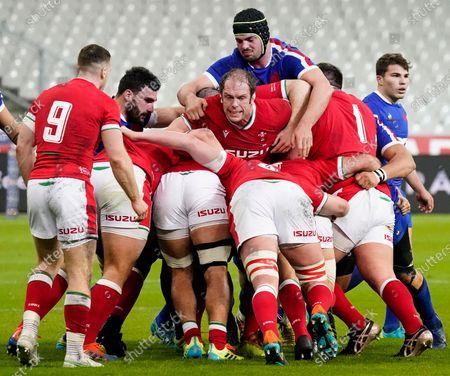 France vs Wales. Wales' Alun Wyn Jones with Gregory Alldritt of France