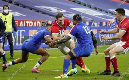 France vs Wales. Wales' George North comes up against Virimi Vakatawa of France