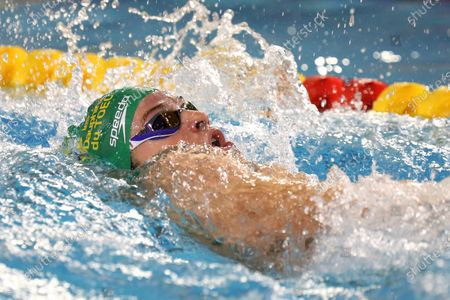 Stock Image of Leon Marchand of Dauphins Toulouse OEC Final A 400 m medley Men