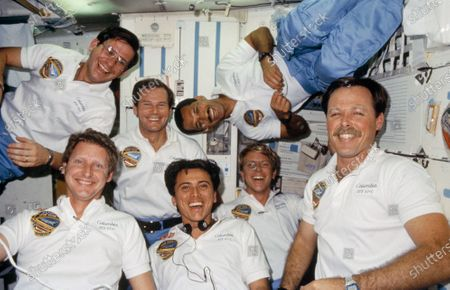 The seven crew members for STS-61C mission use the space shuttle Columbia's middeck for the traditional in-flight group portrait during their January 12 - 18, 1986 flight. Astronaut Robert L. Gibson (lower right corner), commander, is surrounded by fellow crew members, counter-clockwise from upper right: astronaut Charles F. Bolden, pilot; US Representative Bill Nelson (Democrat of Florida), payload specialist; Robert J. Cenker, RCA payload specialist; and astronauts Steven A. Hawley, Franklin R. Chang-Diaz and George D. Nelson, all mission specialists. O, United States President Joe Biden announced he intended to nominate former US Senator Bill Nelson (Democrat of Florida) to serve as National Aeronautics and Space Administration (NASA) Administrator.