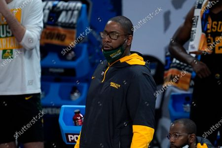 Norfolk State head coach Robert Jones watches against Gonzaga during the first half of a men's college basketball game in the first round of the NCAA tournament at Bankers Life Fieldhouse in Indianapolis