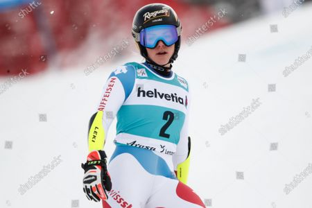 Switzerland's Lara Gut-Behrami looks on after skiing off course during an alpine ski, women's World Cup giant slalom, in Lenzerheide, Switzerland