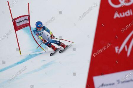 United States' Mikaela Shiffrin speeds down the course during an alpine ski, women's World Cup giant slalom, in Lenzerheide, Switzerland