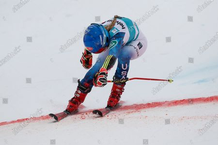 United States' Mikaela Shiffrin crosses the finish line during an alpine ski, women's World Cup giant slalom, in Lenzerheide, Switzerland, . Shiffrin finished in second place