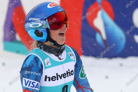 United States' Mikaela Shiffrin gets to the finish area after completing an alpine ski, women's World Cup giant slalom, in Lenzerheide, Switzerland