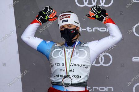 Switzerland's Lara Gut-Behrami celebrates her second place in the alpine ski, women's World Cup overall standings, in Lenzerheide, Switzerland