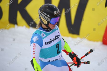 Switzerland's Lara Gut-Behrami gets to the finish are of an alpine ski, women's World Cup giant slalom, in Lenzerheide, Switzerland