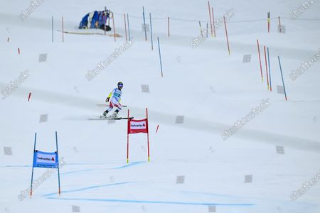 Switzerland's Lara Gut-Behrami after dropping out during the first run of the women's Giant Slalom race at the FIS Alpine Skiing World Cup finals, in Lenzerheide, Switzerland, 21 March 2021.