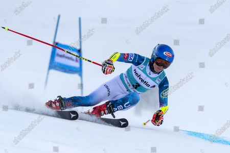Stock Picture of USA's Mikaela Shiffrin in action during the first run of the women's Giant Slalom race at the FIS Alpine Skiing World Cup finals, in Lenzerheide, Switzerland, 21 March 2021.