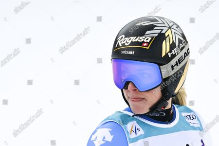 Lara Gut of Switzerland reacts in the finish area after the first run of the Women's Giant Slalom race at the FIS Alpine Skiing World Cup finals in Lenzerheide, Switzerland, 21 March 2021.