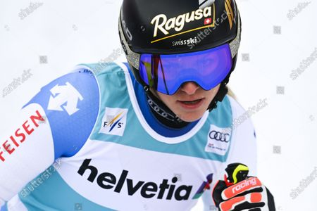 Stock Picture of Lara Gut of Switzerland reacts in the finish area after the first run of the Women's Giant Slalom race at the FIS Alpine Skiing World Cup finals in Lenzerheide, Switzerland, 21 March 2021.