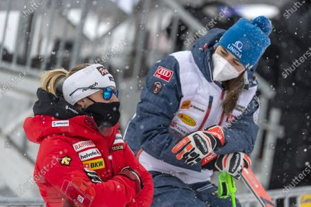 Stock Image of Switzerland's second placed Lara Gut-Behrami (L) and Slovakia's first placed Petra Vlhova arrive for the award ceremony of the Women's overall world cup competition at the FIS Alpine Skiing World Cup finals in Lenzerheide, Switzerland, 21 March 2021.