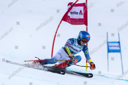 USA's Mikaela Shiffrin in action during the first run of the women's Giant Slalom race at the FIS Alpine Skiing World Cup finals, in Lenzerheide, Switzerland, 21 March 2021.