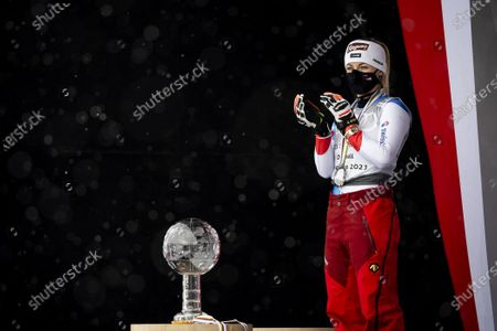 Stock Photo of Switzerland's second placed Lara Gut-Behrami reacts during the award ceremony of the women's overall world cup competition at the FIS Alpine Skiing World Cup finals in Lenzerheide, Switzerland, 21 March 2021.