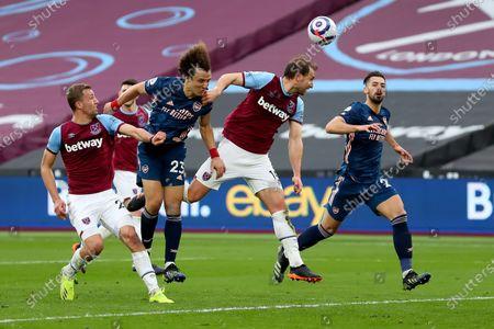 David Luiz of Arsenal has a header on goal; London Stadium, London, England; English Premier League Football, West Ham United versus Arsenal.