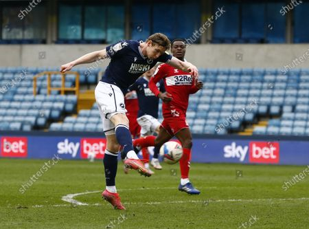 Stock Photo of Jon Dadi Bodvarsson of Millwall during The Sky Bet Championship between Millwall and Middlesbrough at The Den Stadium, London on 20th March 2021