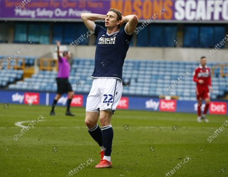Jon Dadi Bodvarsson of Millwall during The Sky Bet Championship between Millwall and Middlesbrough at The Den Stadium, London on 20th March 2021