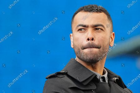 Ashley Cole looks around Stamford Bridge from the TV platform before kick off