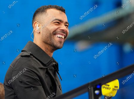 Ashley Cole laughs from the TV Platform ahead of the BBC coverage