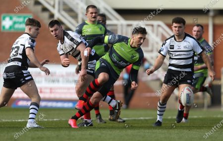 Gavin Henson of West Wales Raiders loses possession as he breaks towards the line