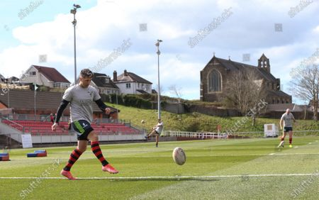 Gavin Henson of West Wales Raiders warms up ahead of his rugby league debut against Widnes Vikings