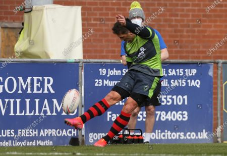 Gavin Henson of West Wales Raiders takes a conversion