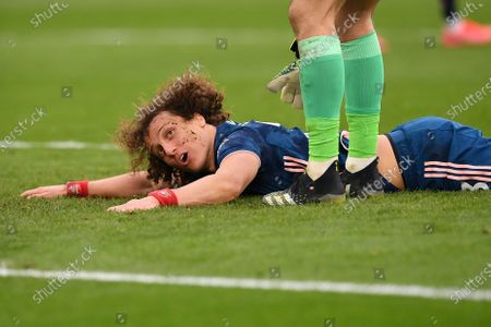 Arsenal's David Luiz reacts during the English Premier League soccer match between West Ham United and Arsenal FC in London, Britain, 21 March 2021.
