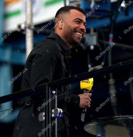 Stock Photo of Ashley Cole the ex-footballer now Media Pundit at the game