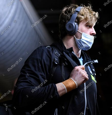 Stock Picture of Dragons vs Glasgow Warriors. Glasgow's Richie Gray arrives