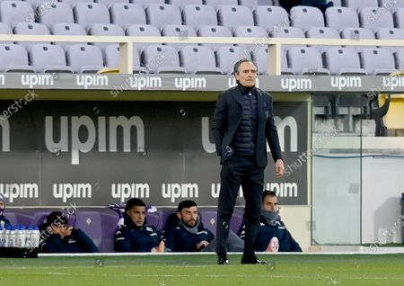 Stock Picture of Fiorentina's head coach Cesare Prandelli reacts during the Italian Serie A soccer match between ACF Fiorentina and AC Milan at the Artemio Franchi stadium in Florence, Italy, 21 March 2021.