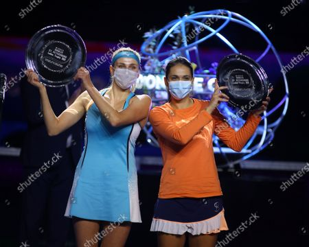 Nadiia Kichenok of Ukraine and Raluca Olaru of Romania pose for a picture with their awards during the St. Petersburg Ladies Trophy 2021 tennis tournament at Sibur Arena. Final score: (Nadiia Kichenok and Raluca Olaru 2-1 Kaitlyn  Christian and Sabrina Santamaria)