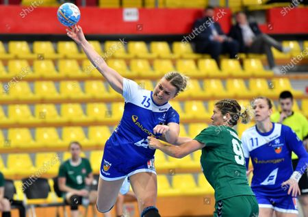 Eva Bjork Davidsdottir  (L) of Iceland in action against Jurate Zilinskaite of Lithuania during the 2021 World Women's Handball Championship European qualification match between Iceland and Lithuania in Skopje, Republic of North Macedonia, 21 March 2021.