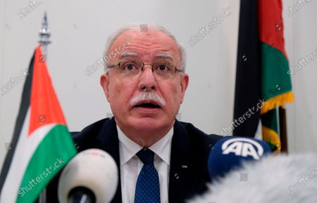 Palestinian Foreign Minister Riad Malki speaks during a press conference at the International Criminal Court. Israel on revoked the VIP permit of Malki after he returned to the West Bank from a trip to the International Criminal Court in the Hague, Israeli and Palestinian officials confirmed