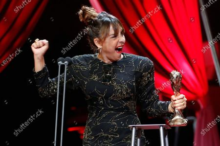 Candela Pena reacts after receiving the Best Actress Gaudi Award for 'La Boda de Rosa' during the 13th Gaudi Awards gala held in Barcelona, Catalonia, Spain, 21 March 2021.