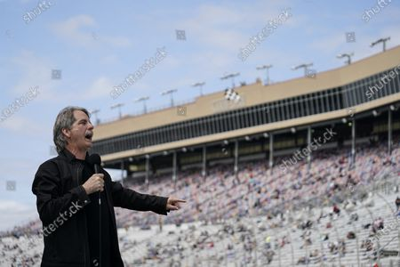Comedian Jeff Foxworthy speaks to the fans before a NASCAR Cup Series at Atlanta Motor Speedway, in Hampton, Ga