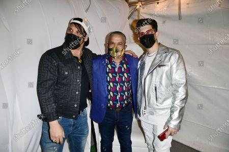 """Henry Banrevi, Hector """"El Torito"""" Acosta and Leosmany Castillo backstage"""