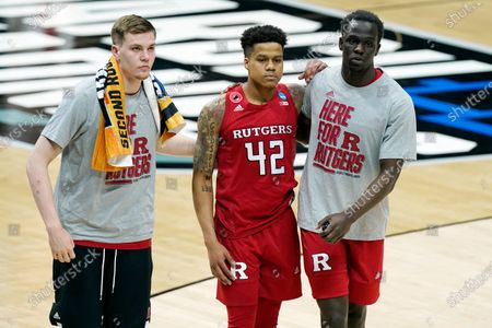 Rutgers' Jacob Young (42) leaves the court after Rutgers lost to Houston in a college basketball game in the second round of the NCAA tournament at Lucas Oil Stadium in Indianapolis . Houston won 63-60