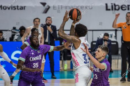 Trey Thompkins (white) during Real Madrid victory over Coosur Real Betis 95 - 77 in Liga Endesa regular season game (day 27) celebrated in Madrid (Spain) at Wizink Center. Marcsh 21st 2021.