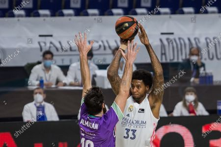 Trey Thompkins (white right) during Real Madrid victory over Coosur Real Betis 95 - 77 in Liga Endesa regular season game (day 27) celebrated in Madrid (Spain) at Wizink Center. Marcsh 21st 2021.