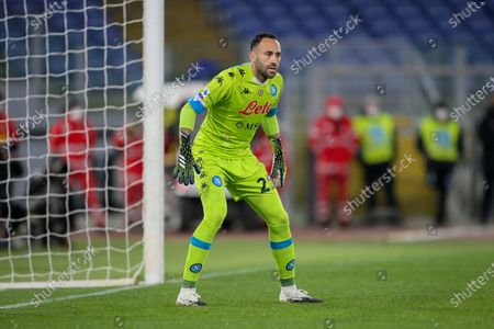 Goalkeeper David Ospina of SSC Napoli in action during the Italian Serie A football match between AS Roma and SSC Napoli at Olimpico Stadium in Rome, Italy on March 21, 2021. SSC Napoli won the match 2-0.