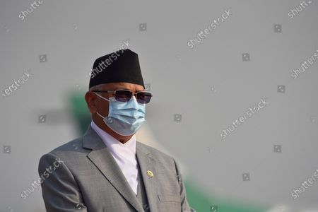 A Portrait of Prime Minister KP Sharma Oli along with face mask arrive to farewell President Bidya Devi Bhandari for two-day official state visit to Bangladesh on Monday, March 22, 2021 on invitation of her Bangladeshi counterpart Mohammad Abdul Hamid to attend the celebration of the birth centenary of Bangabandhu Sheikh Mujibur Rahman, the Father of the Nation of Bangladesh.