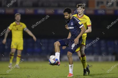 Timothee Dieng of Southend United and  Sam Perry of Walsall in action during Sky Bet League Two match between Southend United and Walsall at Roots Hall in Southend - 23rd March 2021